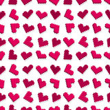 Modelo inconsútil del fondo del corazón rosado del pixel Foto de archivo