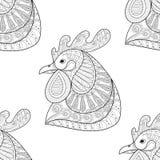 Modelo inconsútil del gallo de la historieta de Zentangle Imagen de archivo libre de regalías