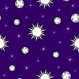 Modelo inconsútil del garabato con las lunas, los soles y las estrellas ilustración del vector