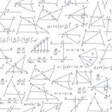 Modelo inconsútil del garabato del vector de la escuela con diversos valores de la matemáticas Imagen de archivo