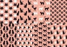 Modelo inconsútil del gato y del perro, vector Imágenes de archivo libres de regalías