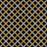 Modelo inconsútil del Grunge de las rayas o de las líneas diagonales de la plata del oro Foto de archivo libre de regalías