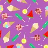 Modelo inconsútil del helado Colección de dulces ilustración del vector