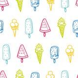 Modelo inconsútil del helado con los colores de neón - textura del fondo, grandes inconsútiles para las telas temáticas del veran ilustración del vector