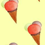 Modelo inconsútil del helado de la acuarela Imágenes de archivo libres de regalías