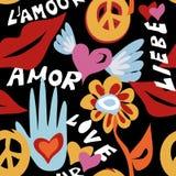 Modelo inconsútil del hippie retro del día de tarjetas del día de San Valentín libre illustration