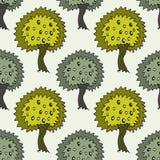 Modelo inconsútil del jardín con el olivo del garabato en fondo verde Textura de los olivos del vector Fotografía de archivo
