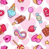Modelo inconsútil del kawaii con los dulces y los caramelos Dulce-materia loca en estilo de la historieta stock de ilustración