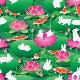 Modelo inconsútil del koi del conejo de la linterna del loto de Lotus stock de ilustración