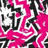 Modelo inconsútil del laberinto rosado con efecto de la mancha blanca /negra Foto de archivo