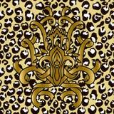 Modelo inconsútil del leopardo con el modelo de oro de las cintas Textura del grunge de la piel animal Ilustración del vector libre illustration