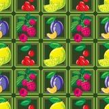 Modelo inconsútil del limón, de la frambuesa, de la cereza y del ciruelo maduros Imagen de archivo