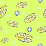 Modelo inconsútil del limón en fondo en colores pastel anaranjado Foto de archivo libre de regalías