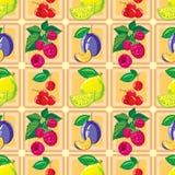 Modelo inconsútil del limón maduro, frambuesa, cereza, ciruelo Imagen de archivo libre de regalías