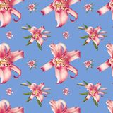 Modelo inconsútil del lirio hermoso del rosa Ramo de flores Impresi?n floral Dibujo del marcador libre illustration