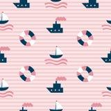 Modelo inconsútil del mar con el barco, el bote salvavidas y las tiras dibujados mano en fondo como tela, materia textil, ropa Il libre illustration