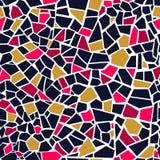 Modelo inconsútil del mosaico abstracto rosado brillante Fondo del vector Textura rota roja colorida de los trencadis de las teja Fotografía de archivo libre de regalías