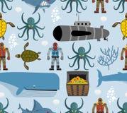 Modelo inconsútil del océano Vida marina: ballena y tortuga Pulpo a ilustración del vector