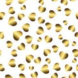 Modelo inconsútil del oro, fondo de oro romántico con los corazones Fotos de archivo libres de regalías