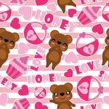 Modelo inconsútil del oso y de los elementos lindos de la tarjeta del día de San Valentín en el ejemplo rayado de la historieta d Fotos de archivo