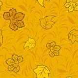 Modelo inconsútil del otoño con las hojas de hadas de oro stock de ilustración