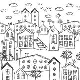 Modelo inconsútil del paisaje urbano del invierno bosquejo fondo a mano blanco y negro para el papel pintado, terraplenes de mode