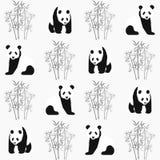 Modelo inconsútil del panda y de bambú con Tienda extrema del deporte ilustración del vector