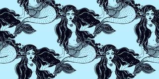 Modelo inconsútil del pelo largo de la muchacha de la sirena del océano ilustración del vector