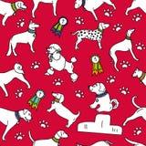 Modelo inconsútil del perro de las razas aislado en fondo rojo ilustración del vector