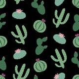 Modelo inconsútil del peyote del cactus de las plantas verdes en un backgroun negro ilustración del vector