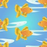 Modelo inconsútil del pez de colores de la historieta Fotos de archivo libres de regalías