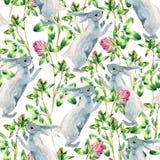 Modelo inconsútil del prado de la acuarela con el conejito, flor del trébol ilustración del vector