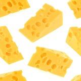 Modelo inconsútil del queso aislado en el fondo blanco Foto de archivo libre de regalías
