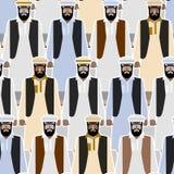 Modelo inconsútil del refugiado sirio Muchedumbre de inmigrantes de Afgha stock de ilustración