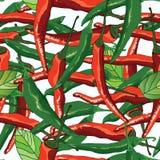 Modelo inconsútil del rocío rojo verde de la hoja del chile Fotografía de archivo