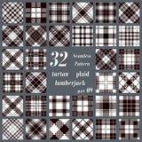 Modelo inconsútil del sistema del tartán blanco y negro de la tela escocesa Fotos de archivo libres de regalías