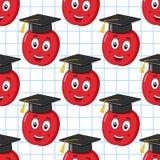 Modelo inconsútil del sombrero de la graduación de Apple stock de ilustración