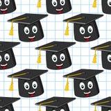 Modelo inconsútil del sombrero de la graduación de la historieta stock de ilustración