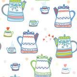 Modelo inconsútil del té con los potes y la taza Fotografía de archivo