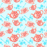 Modelo inconsútil del té de la mañana Imagenes de archivo