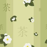 Modelo inconsútil del té verde Imágenes de archivo libres de regalías