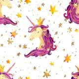 Modelo inconsútil del unicornio de la acuarela