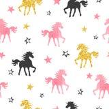 Modelo inconsútil del unicornio E stock de ilustración
