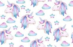 Modelo inconsútil del unicornio lindo, mágico libre illustration