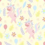 Modelo inconsútil del unicornio y de las flores - ejemplo del vector, EPS libre illustration