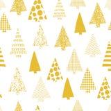 Modelo inconsútil del vector abstracto de los árboles de navidad el árbol de navidad siluetea el oro en un fondo blanco Diseño mo ilustración del vector