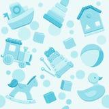 Modelo inconsútil del vector azul con los juguetes del bebé ilustración del vector