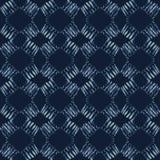 Modelo inconsútil del vector del batik del teñido anudado del añil Azul orgánico exhausto de la mano libre illustration