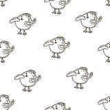 Modelo inconsútil del vector del bebé Muchos pocos pájaros en el fondo blanco stock de ilustración