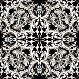 Modelo inconsútil del vector blanco y negro barroco Damasco b floral stock de ilustración